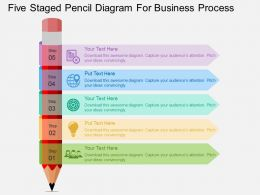 Five Staged Pencil Diagram For Business Process Flat Powerpoint Design