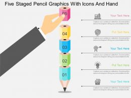 Five Staged Pencil Graphics With Icons And Hand Flat Powerpoint Design