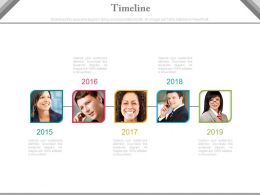 Five Staged Photo Timeline Chart For Business Powerpoint Slides