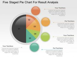 Five Staged Pie Chart For Result Analysis Powerpoint Slides