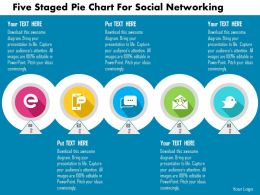 Five Staged Pie Chart For Social Networking Flat Powerpoint Design