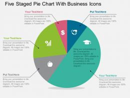 Five Staged Pie Chart With Business Icons Flat Powerpoint Design