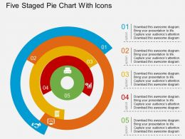 Five Staged Pie Chart With Icons Flat Powerpoint Design