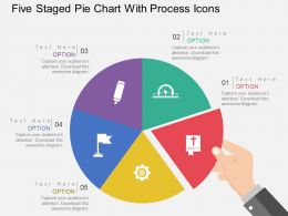Five Staged Pie Chart With Process Icons Flat Powerpoint Design