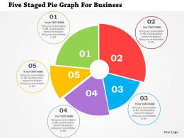 Five Staged Pie Graph For Business Flat Powerpoint Design