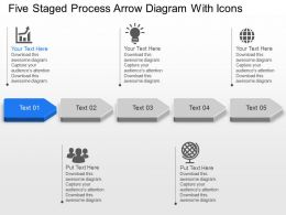 Five Staged Process Arrow Diagram With Icons Powerpoint Template Slide