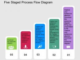 five_staged_process_flow_diagram_flat_powerpoint_design_Slide01