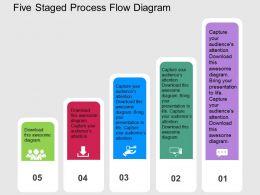 Five Staged Process Flow Diagram Flat Powerpoint Design