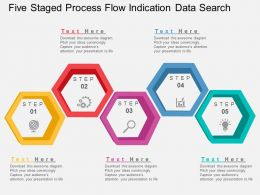 Five Staged Process Flow Indication Data Search Flat Powerpoint Design