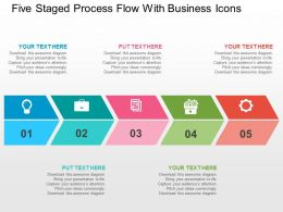 Five Staged Process Flow With Business Icons Flat Powerpoint Design
