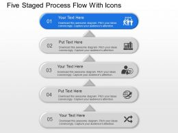 Five Staged Process Flow With Icons Powerpoint Template Slide