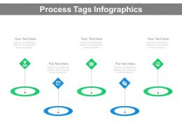 Five Staged Process Tags Infographics Powerpoint Slides
