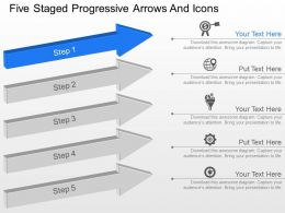 Five Staged Progressive Arrows And Icons Powerpoint Template Slide