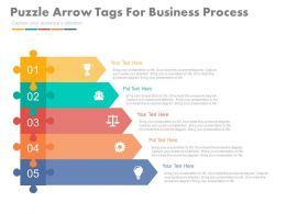 Five Staged Puzzle Arrow Tags For Business Process Flat Powerpoint Design