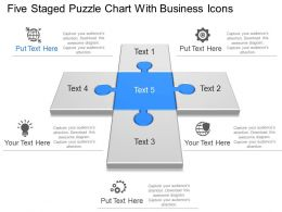 Five Staged Puzzle Chart With Business Icons Powerpoint Template Slide