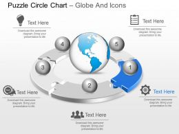 Five Staged Puzzle Circle Chart Globe And Icons Ppt Presentation Slides