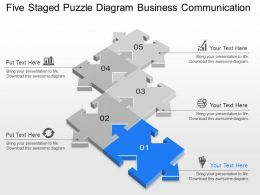 Five Staged Puzzle Diagram Business Communication Powerpoint Template Slide