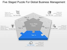 Five Staged Puzzle For Global Business Management Powerpoint Template Slide