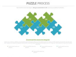 Five Staged Puzzles For Solutions Development Powerpoint Slides