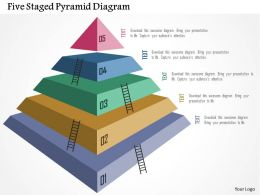 Five Staged Pyramid Diagram Flat Powerpoint Design