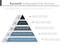 Five Staged Pyramid Infographics For Success Powerpoint Slides