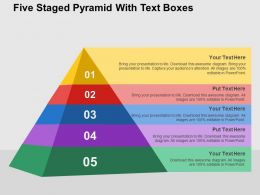 Five Staged Pyramid With Text Boxes Flat Powerpoint Design
