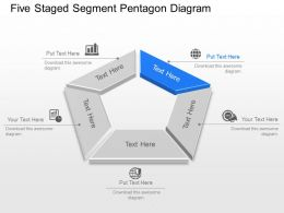 Five Staged Segment Pentagon Diagram Powerpoint Template Slide