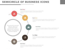Five Staged Semicircle Of Business Icons Flat Powerpoint Design