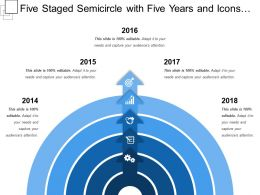Five Staged Semicircle With Five Years And Icons Located
