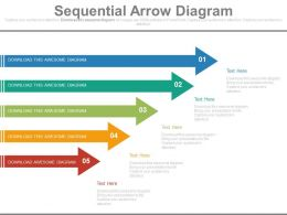 Five Staged Sequential Arrow Diagram Powerpoint Slides