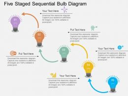 Five Staged Sequential Bulb Diagram Flat Powerpoint Desgin