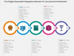 Five Staged Sequential Infographics Banners For Success And Achievement Flat Powerpoint Design