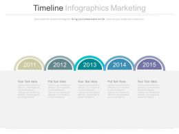 Five Staged Sequential Timeline For Marketing Powerpoint Slides