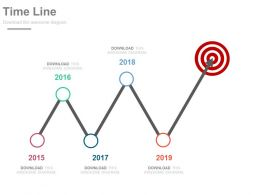 Five Staged Sequential Timeline For Target Achievement Powerpoint Slides