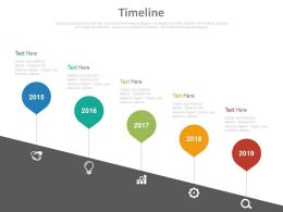 Five Staged Sequential Timeline With Icons Powerpoint Slides