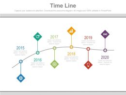 Five Staged Sequential Timeline With Tags Powerpoint Slides