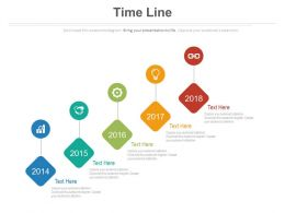 Five Staged Sequential Year Based Timeline Powerpoint Slides