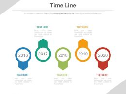 Five Staged Sequential Year Timeline Diagram Powerpoint Slides