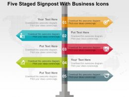 Five Staged Signpost With Business Icons Flat Powerpoint Design