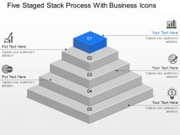 Five Staged Stack Process With Business Icons Powerpoint Template Slide