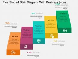 Five Staged Stair Diagram With Business Icons Flat Powerpoint Design