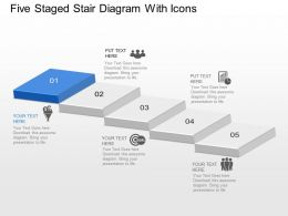 Five Staged Stair Diagram With Icons Powerpoint Template Slide