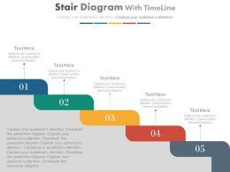 Five Staged Stair Diagram With Timeline Powerpoint Slides