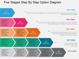 Five Staged Step By Step Option Diagram Flat Powerpoint Design