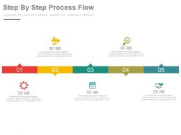 Five Staged Step By Step Process Flow Diagram Flat Powerpoint Design