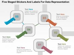 Five Staged Stickers And Labels For Data Representation Flat Powerpoint Design