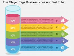 Five Staged Tags Business Icons And Test Tube Flat Powerpoint Design