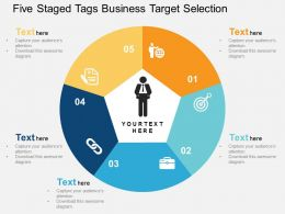 five_staged_tags_business_target_selection_flat_powerpoint_design_Slide01
