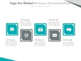 five_staged_tags_for_global_business_communication_flat_powerpoint_design_Slide01