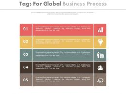 Five Staged Tags For Global Business Process Analysis Flat Powerpoint Design